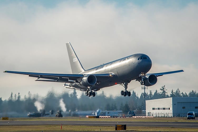 The first KC-46 tanker for the U.S. Air Force takes off from Paine Field in Everett, Wash., on its maiden flight. During the three and one-half hour flight, pilots took the aircraft to 39,000 feet and performed operational checks on engines, flight controls and environmental systems. The KC-46 is a multirole tanker than can refuel all allied and coalition aircraft compatible with international aerial refueling procedures and can carry passengers, cargo and patients. (Photo by Marian Lockhart)