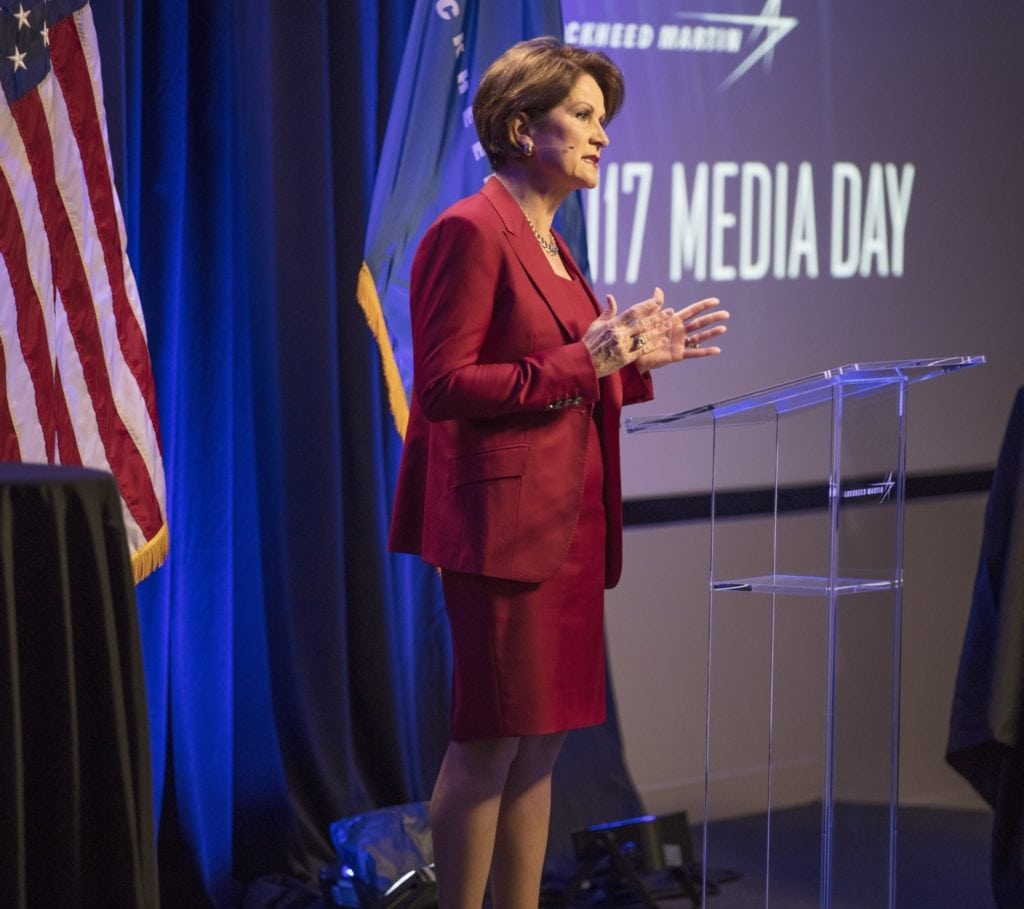 Lockheed Martin Chairman, President and CEO Marillyn Hewson speaking at the company's annual media day on March 21. Photo: Lockheed Martin