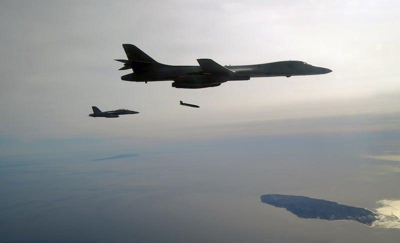 Lockheed Martin successfully fired production-configuration Long Range Anti-Ship Missiles from a U.S. Air Force B-1B bomber. Photo credit: U.S. Navy. (PRNewsfoto/Lockheed Martin)