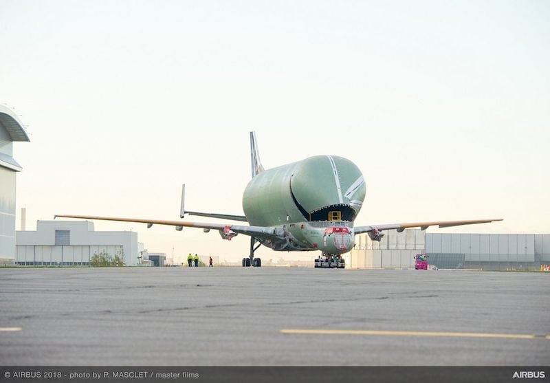 The first structurally complete Airbus BelugaXL super transporter will have its two jet engines installed and undergo months of tests ahead of its first flight in 2018. Photo courtesy of Airbus