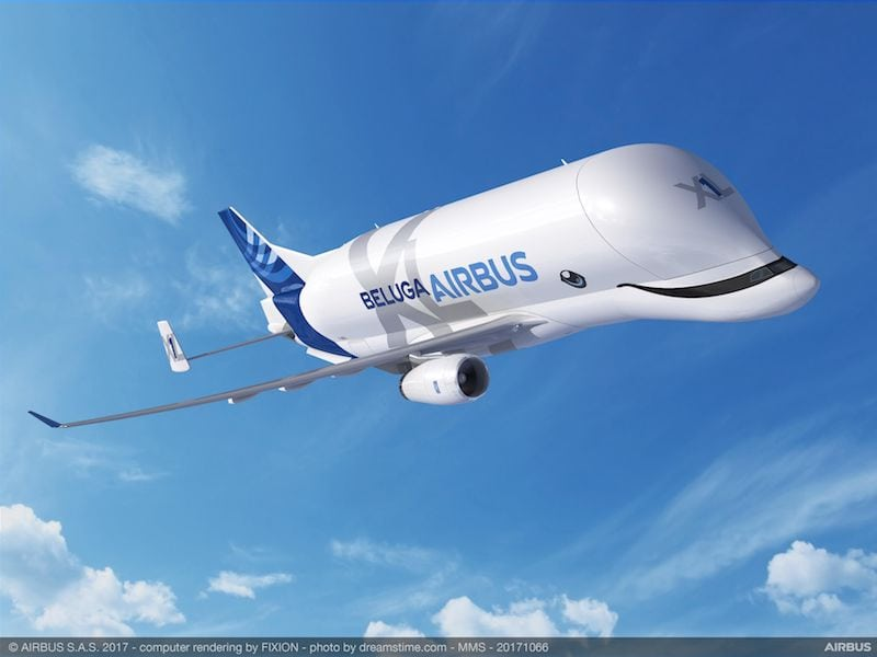 The BelugaXL's special livery design – including beluga whale-inspired eyes and a happy grin – was voted on by Airbus employees. Image courtesy of Airbus