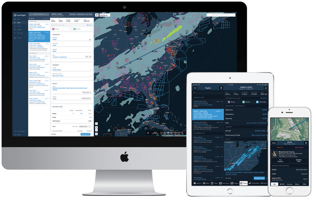 ForeFlight planning on mobile and web