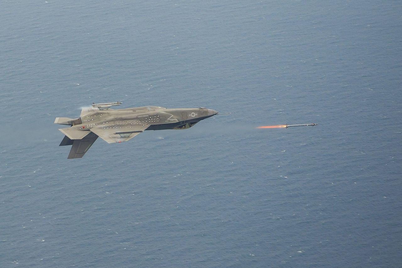 An F-35C firing missiles upside down (Lockheed Martin)