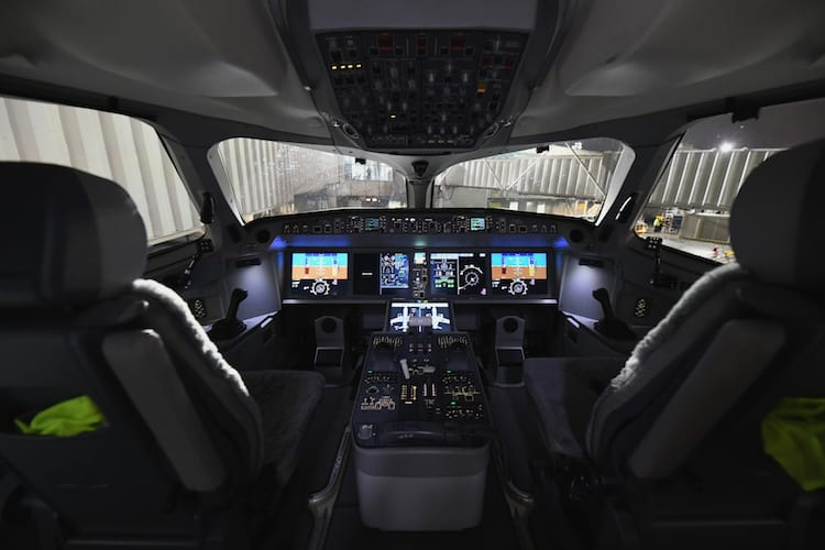 The cockpit of Delta Air Lines' first passenger carrying Airbus A220-100