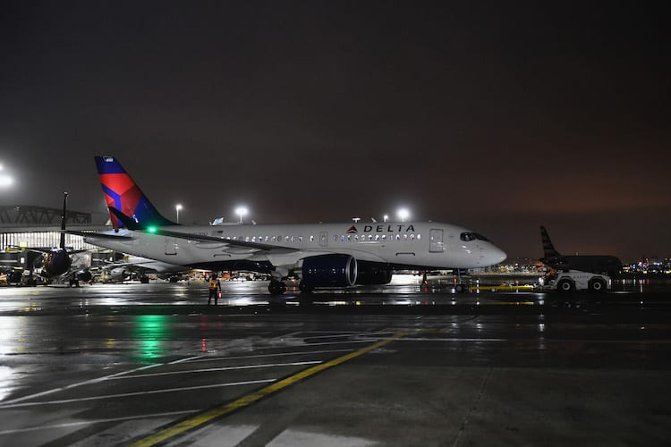 Delta Air Lines first Airbus A220-100 prepares for its first passenger flight.