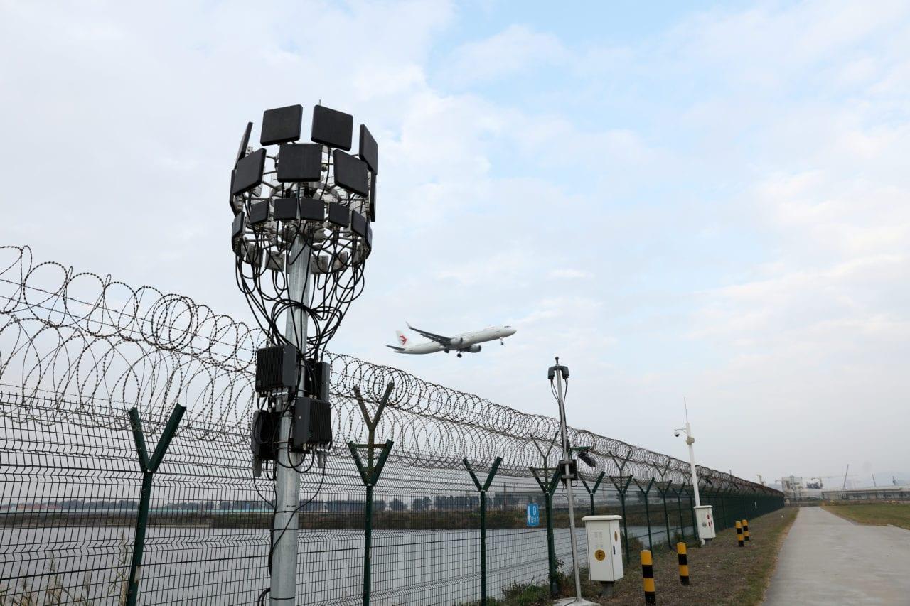 The antenna for DJI's fixed Aeroscope unit. (DJI)