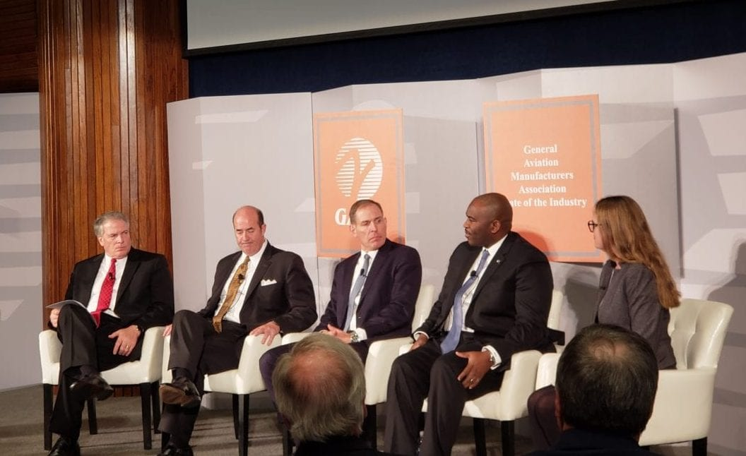 A panel at the GAMA state of the industry event. Left to right: GAMA's Pete Bunce, Gulfstream's Mark Burns, Jet Aviation's David Paddock, Boeing Global Service's William Ampofo and Terrafugia's Anna Dietrich. (AVI)