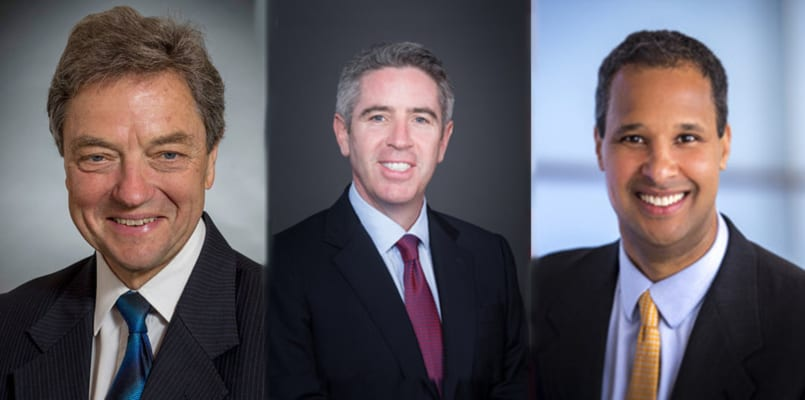 Sir Michael Arthur, John Slattery and B. Marc Allen (left, middle, right) have all been named to new senior positions at Boeing. (Boeing)