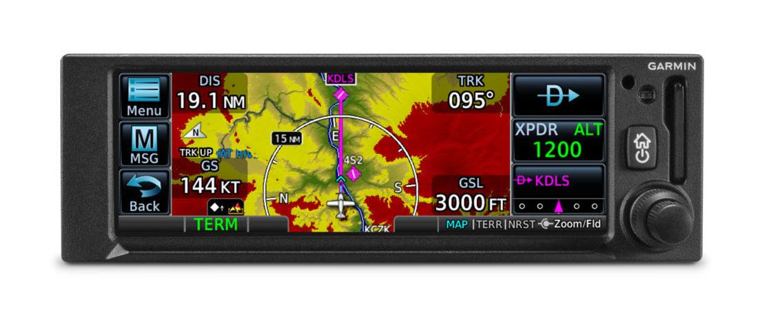 Garmin's GNX 375 displaying a topographical map. (Garmin)