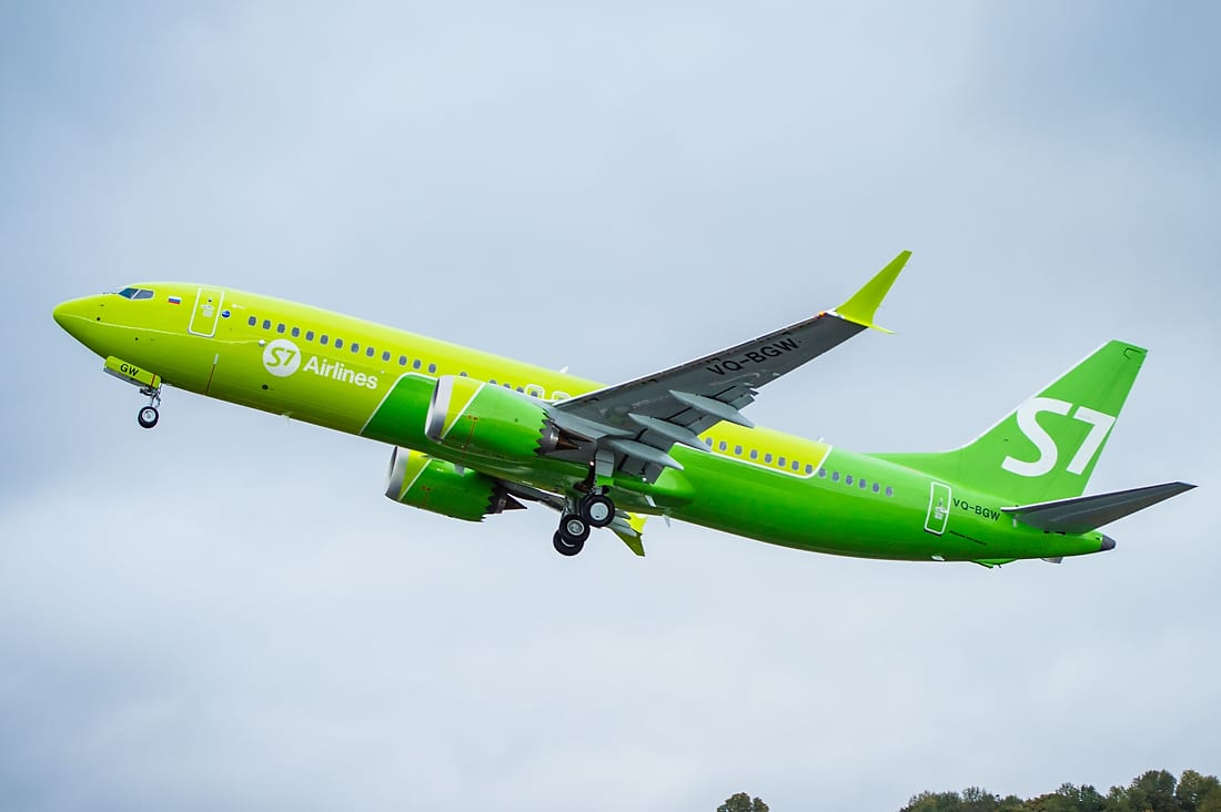 A 737 MAX 8 in S7 Airlines regalia. (Boeing)