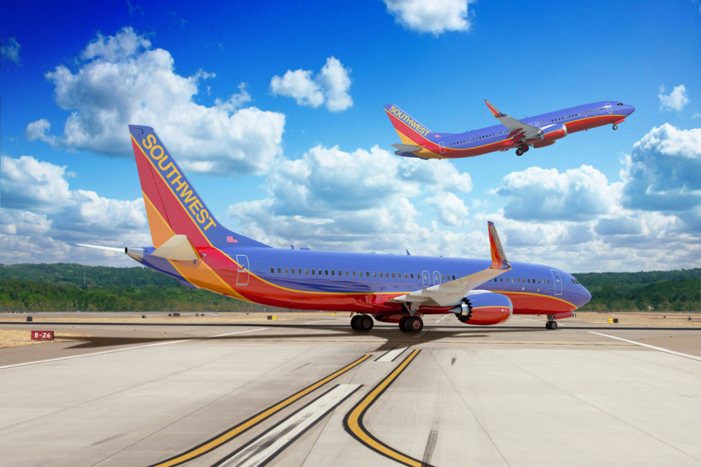 Imagery of 737 MAX aircraft in Southwest Airlines regalia. (SWA)