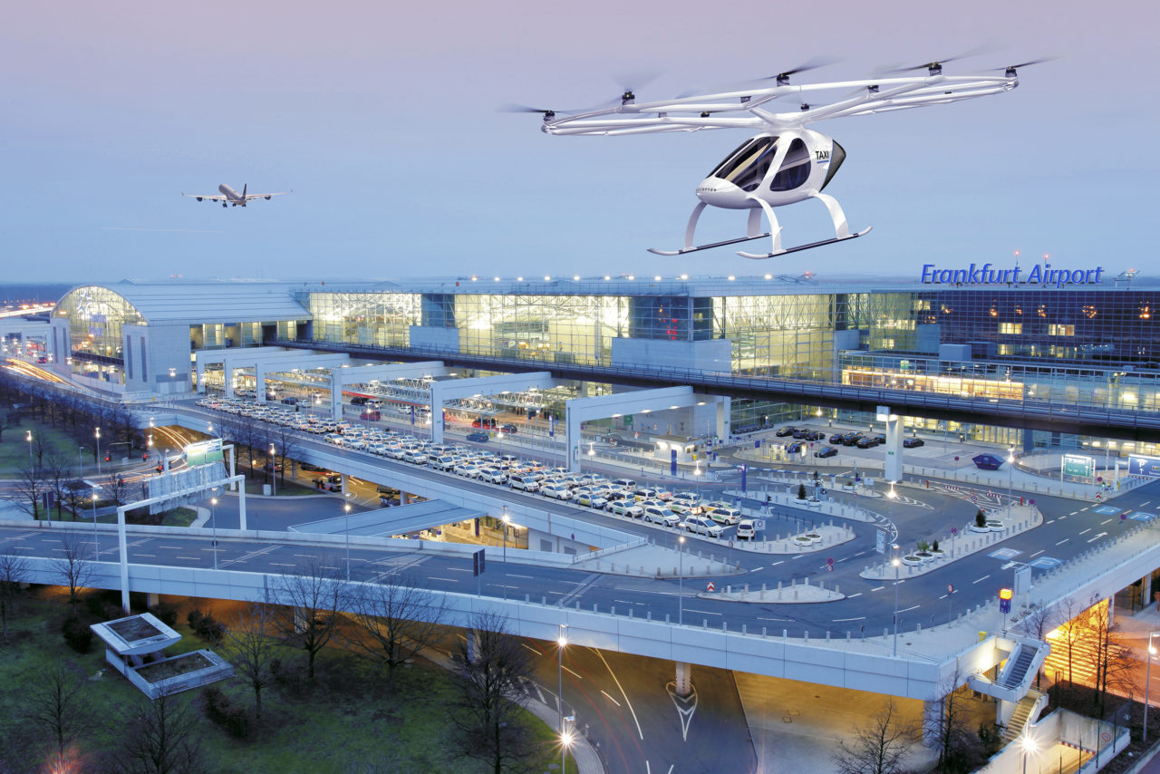 Ilustration of a Volocopter over Germany's Frankfurt Airport. (Volocopter)