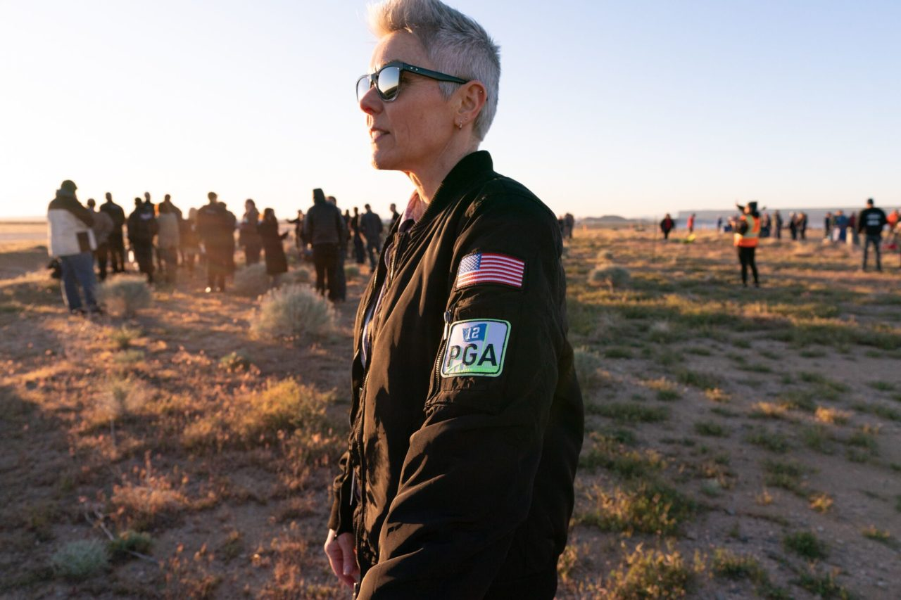 The Stratolaunch team wore patches in honor of founder Paul G. Allen, who died last October. (Stratolaunch)