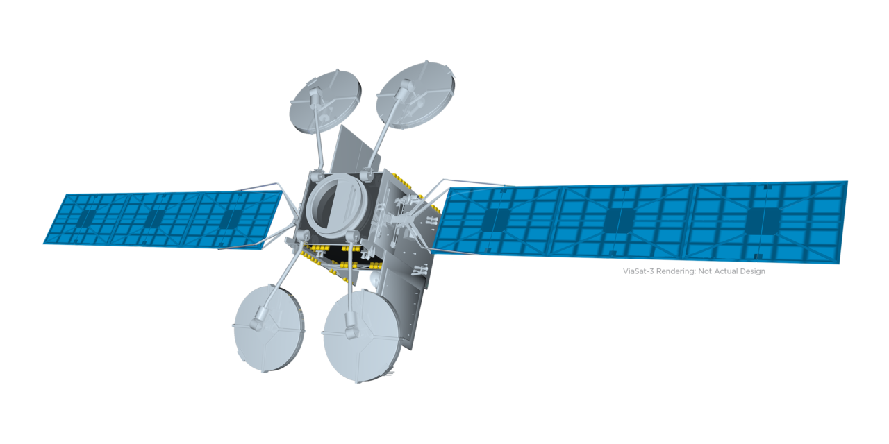 A rendering of the ViaSat-3 satellite. (ViaSat)