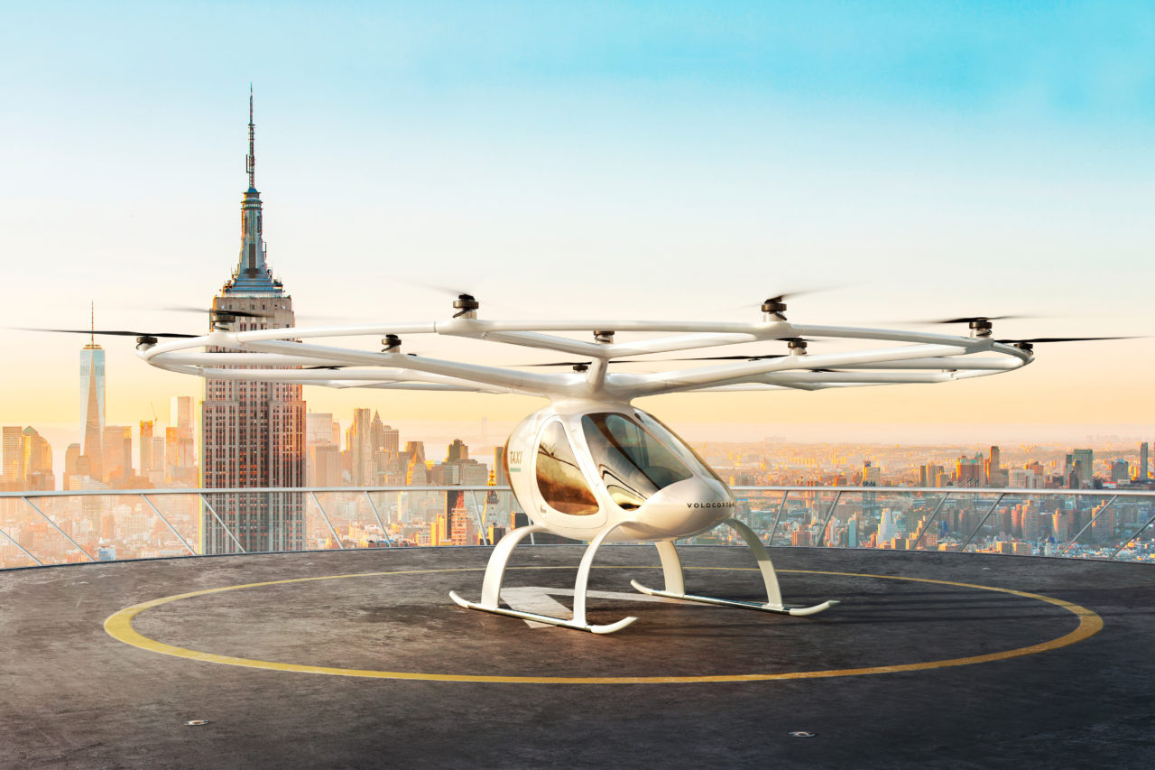 Imagery of a Volocopter in New York. (Volocopter)