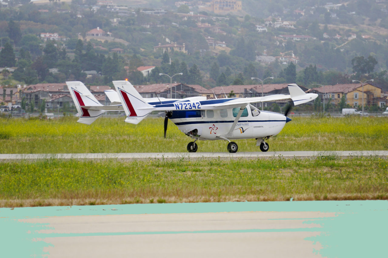 The Cessna-based, hybrid-electric Ampaire 337 during its maiden flight. (Ampaire)