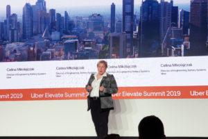 Uber's Celina Mikolajczak onstage at the Elevate summit. (Nick Zazulia/AVI)