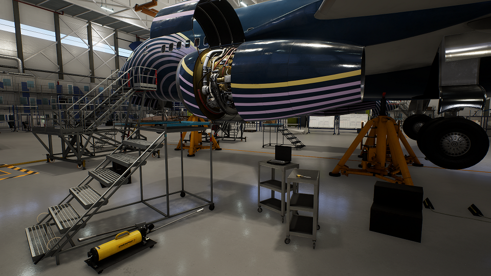 The Boeing 737NG engine in FL Technic's VR module. (FL Technic)
