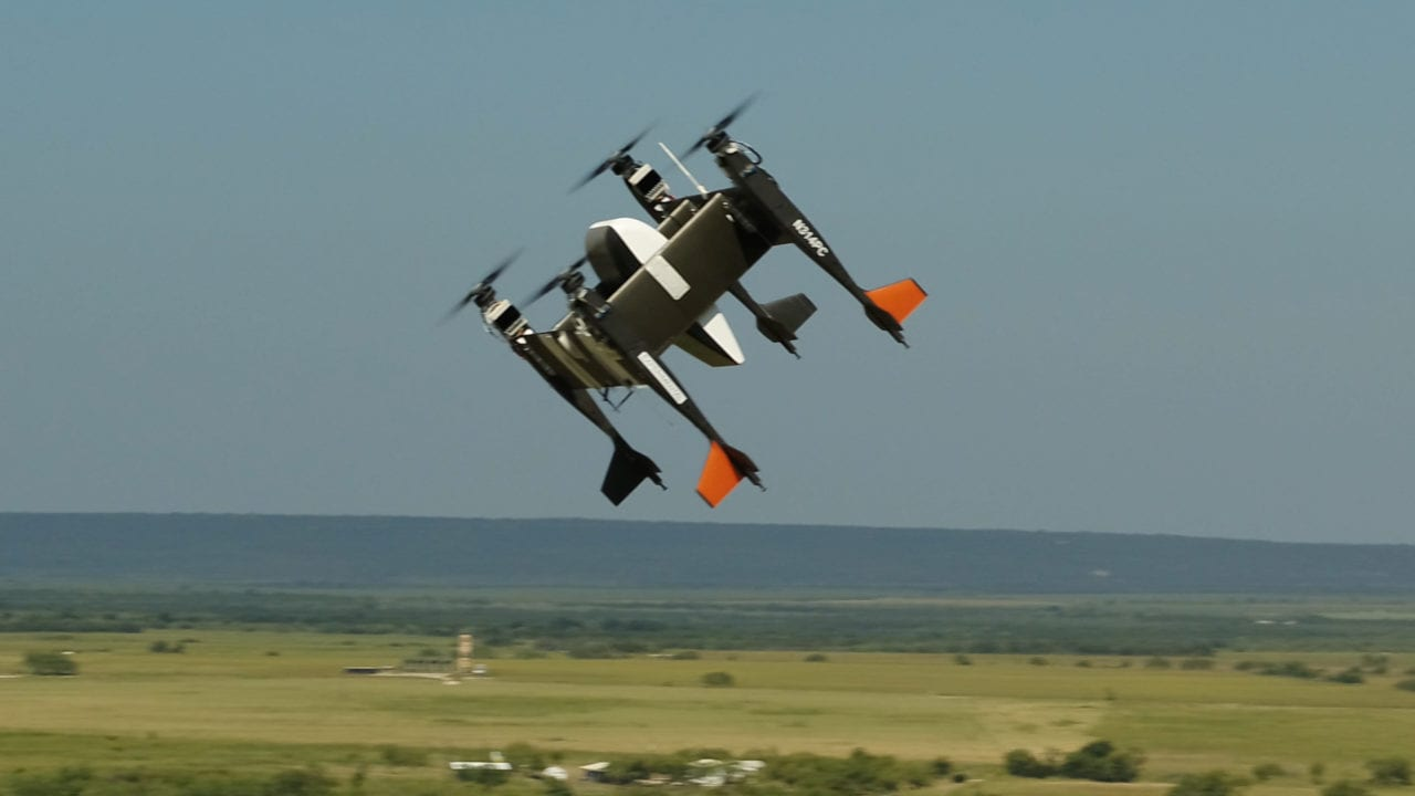 Bell Flight's APT-70 autonomous logistics drone, equipped with Yamato's PUPA-70XG pod, flies above Texas.
