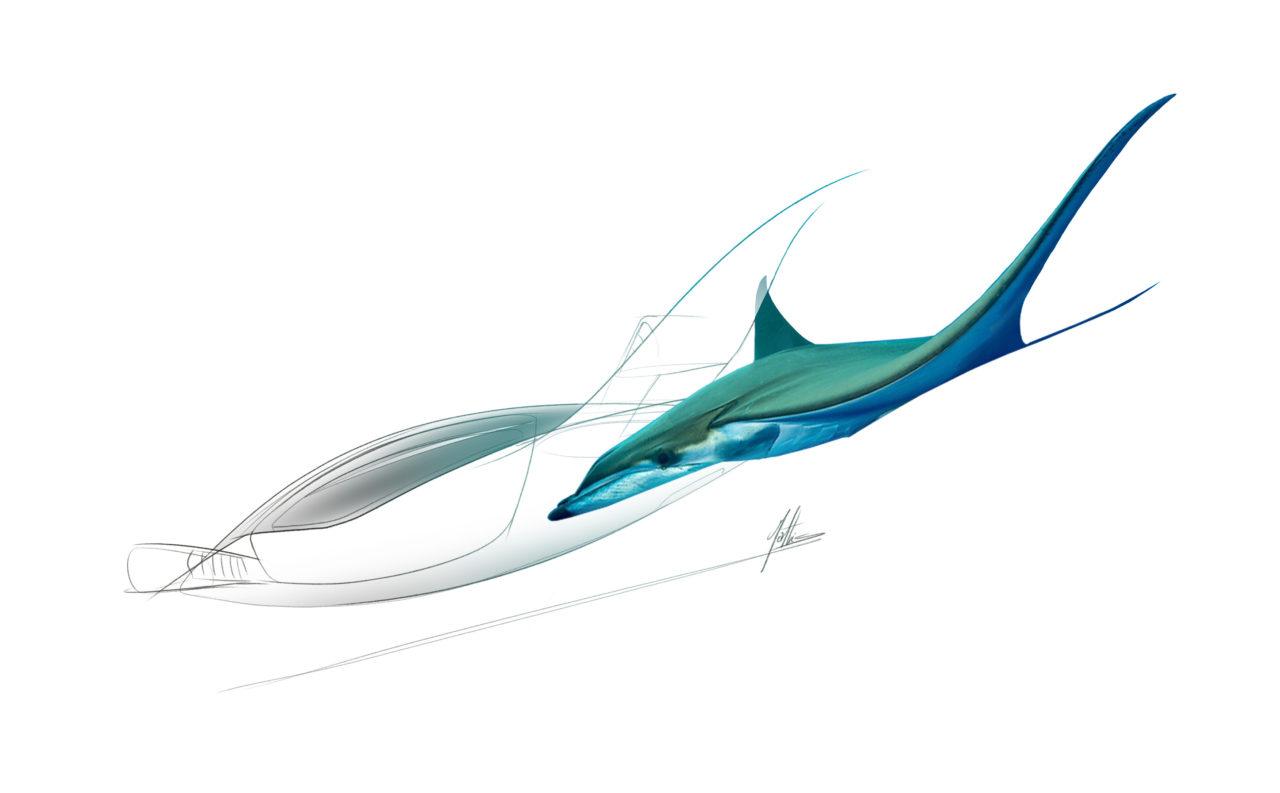 Concept sketch of the Lilium Jet next to a manta ray, signed by designer Mathis Cosson. (Lilium)