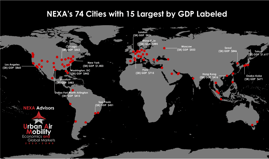 A map of the 74 cities Nexa Advisors chose to examine for their 2020-2040 urban air mobility study.