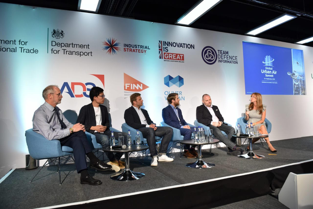 Gwen Lighter, CEO of GoFly, leads a panel on vehicle innovation at the Global Urban Air Summit in Farnborough.